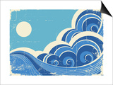 Abstract Sea Waves Grunge Illustration Of Sea Landscape Prints by  GeraKTV