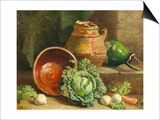 Still Life of Cabbages, Carrot and Turnips Posters by William Hughes