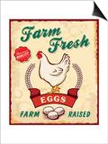 Retro Fresh Eggs Poster Design Láminas por  Catherinecml