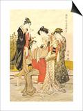 Four Women Poster by Kitagawa Utamaro