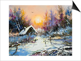 Rural Winter Landscape Poster by  balaikin2009