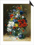 Summer Flowers in a Glass Vase Prints by Eugene Henri Cauchois