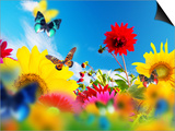 Sunny Garden Of Flowers And Butterflies. Colors Of Spring And Summer Prints by PHOTOCREO Michal Bednarek