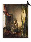 Girl at a Window Reading a Letter, about 1658 Posters by Jan Vermeer