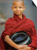 Young Myanmar Buddhist Monk Smiles Broadly as He Waits for Donations Early on a Yangon Street Prints