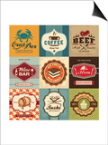 Set Of Vintage Retro Labels For Food, Coffee, Seafood, Bakery, Restaurant Cafe And Bar Prints by  Catherinecml