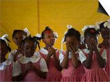School Girls Pray before Class at the Sacred Heart of Turgeau School in Port-Au-Prince Print