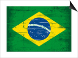 Brazilian Grunge Flag. A Flag Of Brazil With A Texture Prints by  TINTIN75
