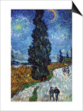 Country Road In Provence By Night Prints by Vincent van Gogh