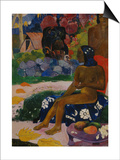 Seated Tahitian Woman and Idol (Vairumati tei oa), 1892 Art by Paul Gauguin