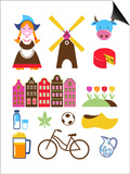 Collection Of Netherlands Icons Poster by  Marish