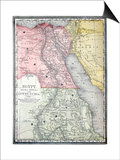 Old Map Of Egypt Prints by  Tektite