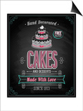 Cakes Poster - Chalkboard Poster by  avean