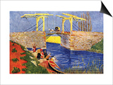 The Langlois Bridge At Arles with Women Washing Art by Vincent van Gogh