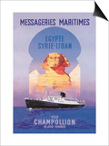 Messageries Maritimes Egypt-Syria-Lebanon Cruise Line Art
