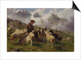Berger des Pyrénées donnant du sel à ses moutons Print by Rosa Bonheur