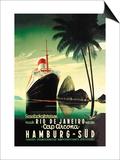 Hamburg to Rio de Janeiro on the Cap Arcona Steamship Prints