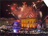 Fireworks at the Brandenburg Gate in Berlin, Germany Commemorating the Fall of the Berlin Wall Poster