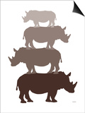 Brown Rhino Prints by  Avalisa