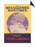 Take a Cruise Around the World with les Messageries Maritimes Posters by Sandy Hook