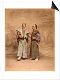 Deux hommes en costume traditionnel, samouraï Print