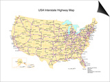 Usa With Interstate Highways, States And Names Prints by Bruce Jones