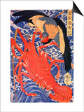Lobster and Bird Print by Kuniyoshi Utagawa