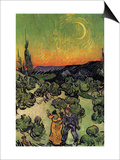 Landscape with Couple Walking and Crescent Moon Posters by Vincent van Gogh