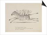 Monkeys Riding a Zebra, Nonsense Botany Animals and Other Poems Written and Drawn by Edward Lear Poster by Edward Lear