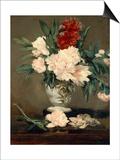 Vase de pivoines sur piédouche Prints by Edouard Manet