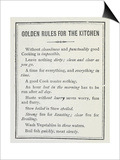 Golden Rules For the Kitchen Prints by Isabella Beeton