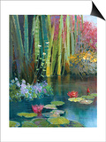 Lilies Adorning the Pond Prints by Kent Wallis
