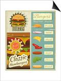 Burgers Menu Set Retro Affiches par  elfivetrov