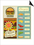 Burgers Menu Set Retro Prints by  elfivetrov