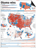 Obama Victory, Presidential Election 2008 Results by State and County Posters