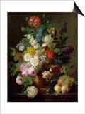 Vase de fleurs, raisins et pêches Print by Jan Frans van Dael