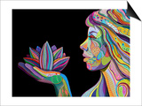 Woman Face With Multicolored Indian Pattern Holding Lotus Flower, Side View, Digital Painting Posters af shooarts