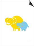 Blue Yellow Baby Elephant Prints by  Avalisa