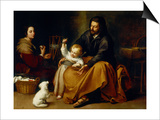 Holy Family with Baby Sparrow Poster by Bartolome Esteban Murillo