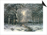 Wooded Winter Landscape, c.1899 Art by Carl Fahrbach