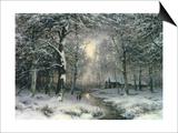 Wooded Winter Landscape, c.1899 Art by Carl Fahrbach