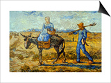Morning with Farmer and Pitchfork; His Wife Riding a Donkey and Carrying a Basket Prints by Vincent van Gogh