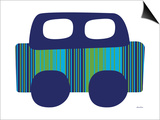 Blue Stripe Car Print by  Avalisa