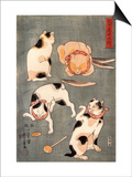 Four Cats in Different Poses Posters by Kuniyoshi Utagawa