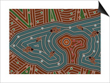 A Illustration Based On Aboriginal Style Of Dot Painting Depicting Magic Place Posters by  deboracilli