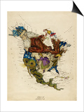 Map Showing North America As a Collection Of Fairy Tale Characters. Prints by Lilian Lancaster