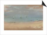 Au bord de la mer, sur une plage, trois voiliers au loin Posters by Edgar Degas