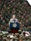 President Bush Speaks to Marines During a Visit to Camp Pendleton Base in San Diego Prints
