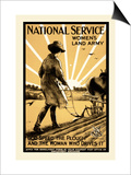 National Service Women's Land Army Print by Henry George Gawthorn