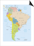 South America-Highly Detailed Map Prints by  ekler